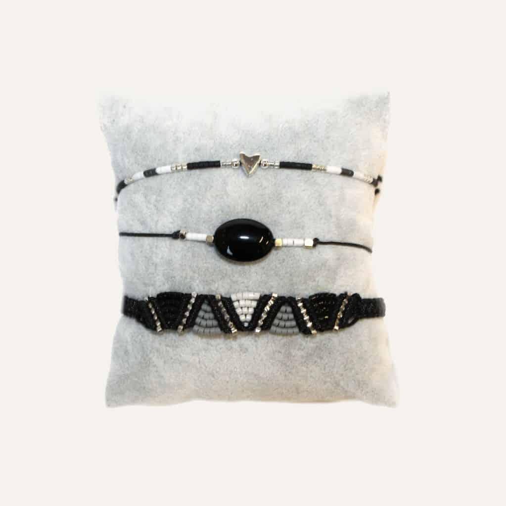 zwart wit zilver armbanden setje sale