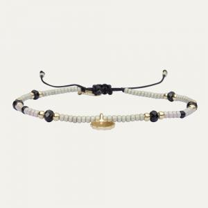 Armband kraaltjes zwart/wit/goud