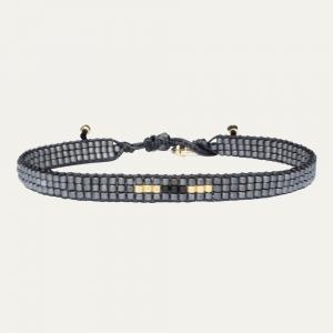 Grijze miyuki armband met goud