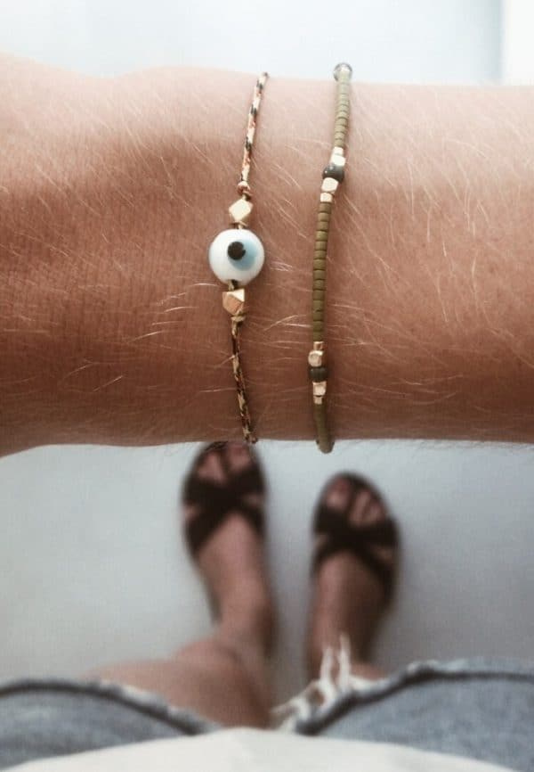 Armbandje met turks oog en touw