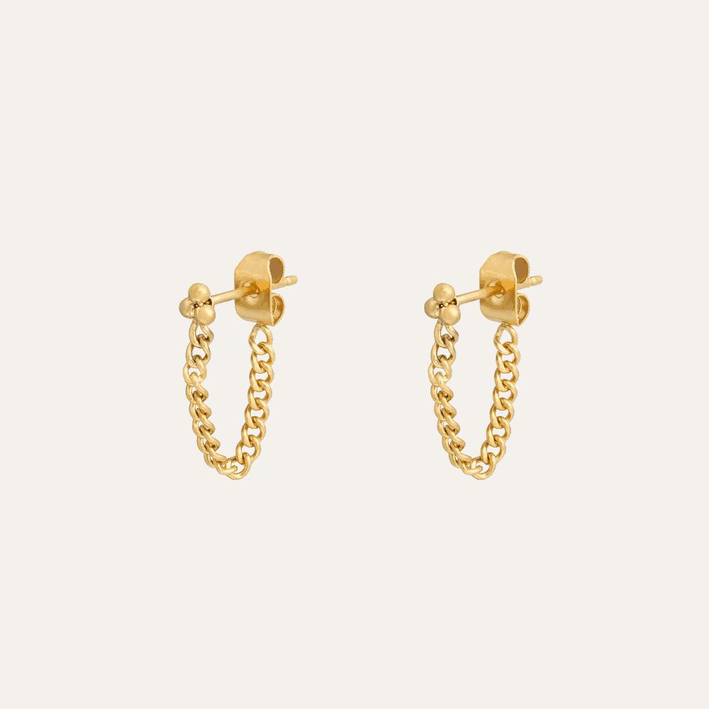 chain oorbellen goud
