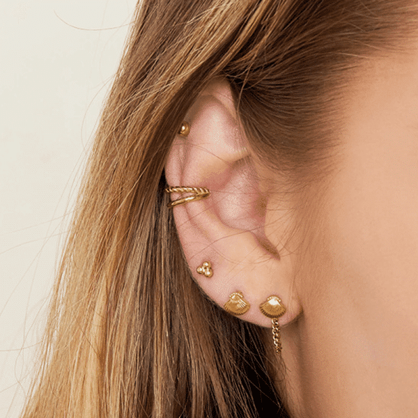 gouden earcuff dubbel