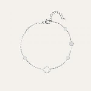armbandje met cirkel zilver